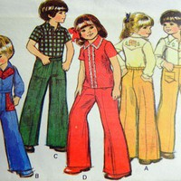 McCall&#x27;s Pattern 5691 Toddlers Shirt Pants with Transfers, Size 1, 70s