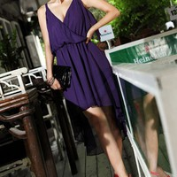 OASAP - Sexy Deep V-neck Flouncing Irregular Hemline Dress - Street Fashion Store