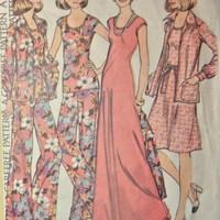 McCalls Sewing Pattern 4250 Misses 8 Dress Top Jacket Pants  1974
