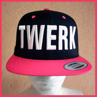 NEON PINK TWERK snapback flatbrim hat by AwkAuck on Etsy