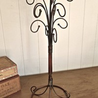 Selma- Curly Iron Necklace Jewelry Tree Stand- Rust Black