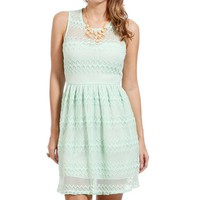 SALE-Mint Lace Mesh Dress