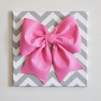 Large Pink Bow on Gray and White Chevron 12 x12 Canvas by bedbuggs