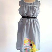 gingham shark dress - vintage house dress with applique shark - women's large