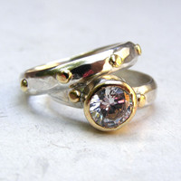Set Engagement Ring wedding ring  - 14k gold ring silver  White Topaz stone ring Similar diamond ring