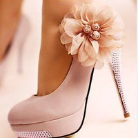 Pink Glitter Diamond Platform Beautiful Flowers Weeding High Heels