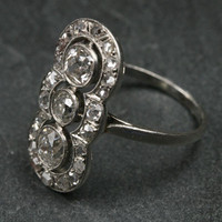 1920s French Three Diamond Platinum Ring by Ruby Gray's | Ruby Gray's Antique & Vintage Rings