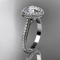 14kt white gold diamond unique engagement ring,wedding ring ADER97......