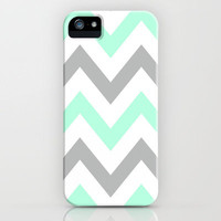 MINT &amp; GRAY CHEVRON iPhone Case by nataliesales | Society6