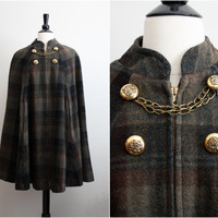 Vintage 60s Wool Military Plaid Cape by PARASOLvintage on Etsy
