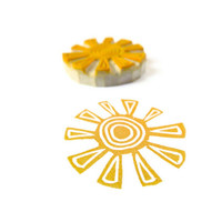 Tribal Sun Stamp - Hand Carved Rubber Stamp