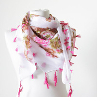 Floral Fashion scarf,  White Women Scarves - Cotton Scarf with fringes, NEW, Neckwarmer, Belt