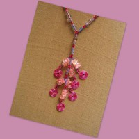 Pink Chips and Spirals Necklace by AthomicArtandDesign on Zibbet