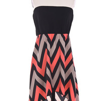 Coral Chevron Hi low dress