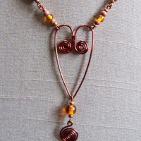 Mocha Amber Heart Necklace by AthomicArtandDesign on Zibbet