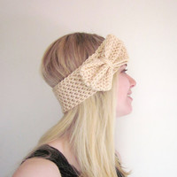 Crochet Bow Ear Warmer Headband in Cream