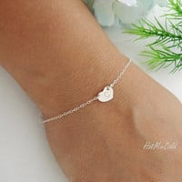 Monogram Bracelet, STERLING silver Heart Jewelry, Customize bracelet, Heart charm bracelet, Bridesmaid Initial bracelet, Christmas gifts