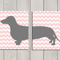 Dachshund Art Print  Modern Dog Art  8x10 by HappyTailPrints