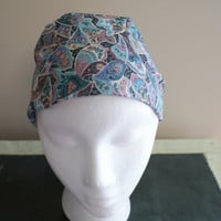Teal Mauve Retro Flower Headband, Wide Fashion HairBand, Floral Bandana, Boho Scarf Headband, Cotton Elastic Headband, Hippie Hairband