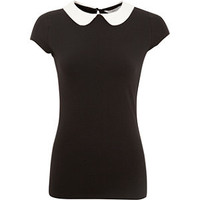 Black Contrast Peter Pan Collar T-Shirt
