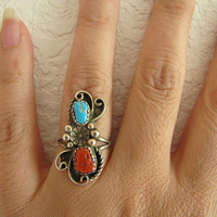 Navajo Sterling silver coral Turquoise flower ring
