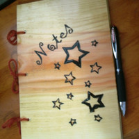 Star Pattern Notebook / Journal Wood Burnt by BillsWoodenPleasures