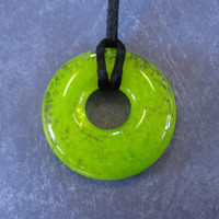 Neon Necklace, Fused Glass Necklace, Lime Green Donut Pendant, Neon Jewelry - Playful Neon - 4090 -3