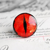 25mm handmade glass eye cabochon - bright red cat or dragon eye
