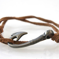 Fish Hook Bracelet  Brown Suede by vertini on Etsy