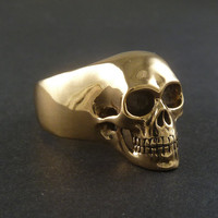 Skull Ring  Bronze Human Skull Ring by LostApostle on Etsy