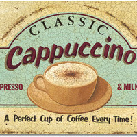 Cappuccino Metal Sign | Retro Coffee Signs | RetroPlanet.com