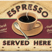 Espresso Served Here Metal Sign | Retro Coffee Signs | RetroPlanet.com