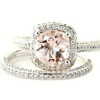 Palladium Morganite Wedding Set Diamond Halo Morganite Engagement Ring Custom Bridal Jewelry