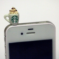 Kawaii STARBUCKS FRAPPUCCINO Iphone Earphone Plug/Dust Plug - Cellphone Headphone Handmade Decorations