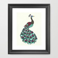 Technicolor Peacock - Marker Art Framed Art Print by Romi Vega | Society6