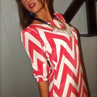 Chevron Shift Dress in Coral | The Rage