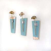 SKY modern flower vase wood wall mount retro teal