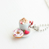 Cappuccino with Whip and Donut Food Necklace by bookmarksnrings