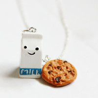 Milk and Chocolate Chip Cookie Necklace Miniature Food Necklace - Miniature Food Jewelry