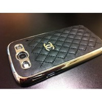 Quilted Leather CC Black/Silver Case Samsung I9300 Galaxy S3 III + FREE Screen Protector