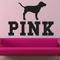 Pink Victoria's Secret Pink with dog wall decal by GrabersGraphics