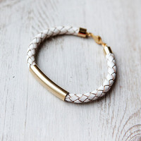 Unisex White Leather Cord Bracelet by pardes israel