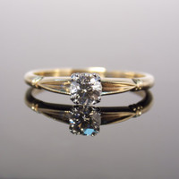 Simple Two Tone 1940s Solitaire Diamond Engagement Ring with Miligrain Details Antique Vintage Classic
