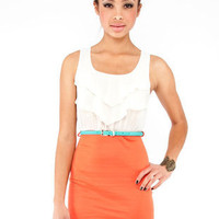 Color Block Tier Dress in Orange :: tobi