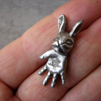 Tiny silver bunny pendant ugly cute