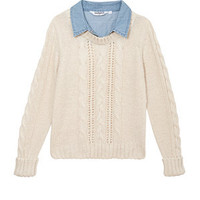 Cream 2 in 1 Denim and Cable Knit Jumper