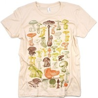 Mushrooms Of the World Women's Creme Graphic Tee Shirt