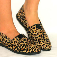 Ballet Flats Rubber Grip*Comfy Sneaker Tennis Shoes*LEOPARD CHEETAH CORDUROY 7