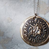 Wax Seal Templar Bronze Pendant Necklace. Hand Made Wax Seal Jewelry.