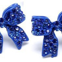 Blue bow earrings rhinestones